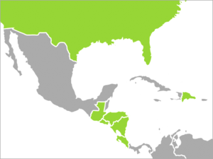Mapa de los países integrantes del CAFTA.Fuente: Wikipedia Commons