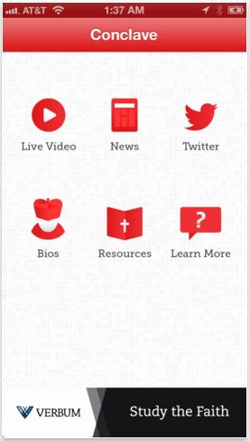 Éste será el primer Cónclave de la Era del Internet. Para estar al pendiente de noticias, perfiles de los candidatos, transmisiones en vivo, así como los rituales del Cónclave, ya hay una app disponible para iOS y Android.Has click en la imagen para ver en iTunes.