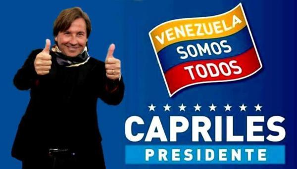 Una de las celebridades que ha mostrado su apoyo público a Henrique Capriles es el cantautor venezolano Ricardo Montaner. Fuente: http://venezuelasomostodos.com