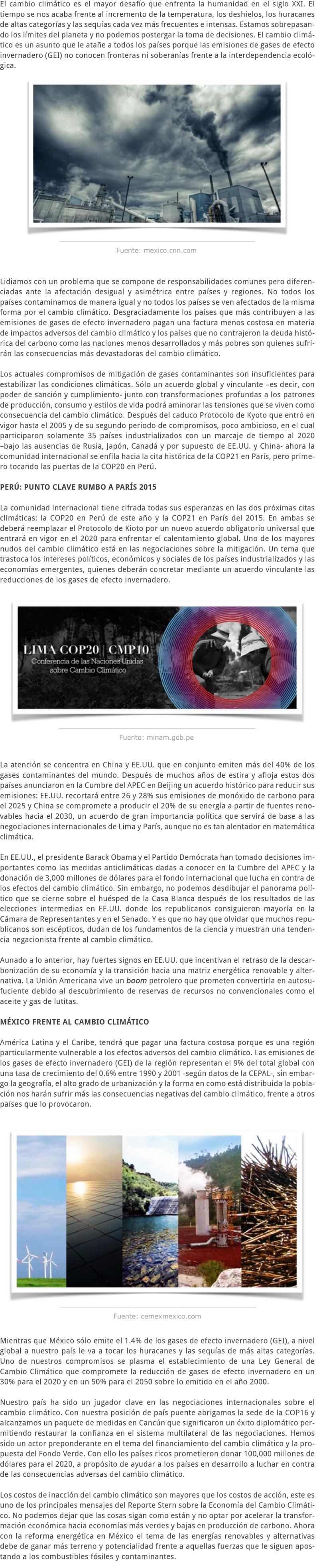 LA COP20 EN PERÚ LOS CONSENSOS Y DIVISORES ALREDEDOR DEL CAMBIO CLIMÁTICO