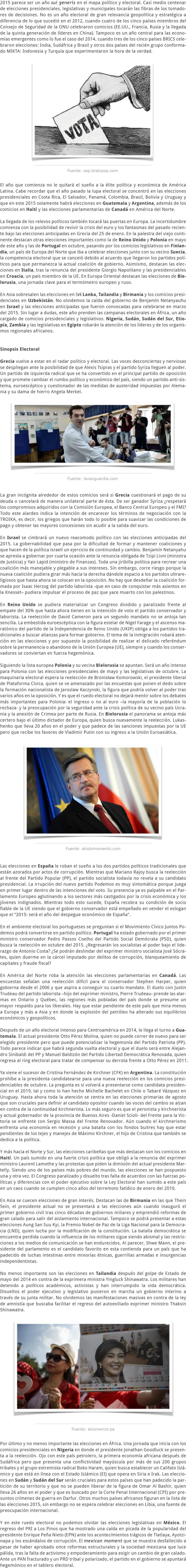 2015 LA MAQUINARIA ELECTORAL MUNDIAL