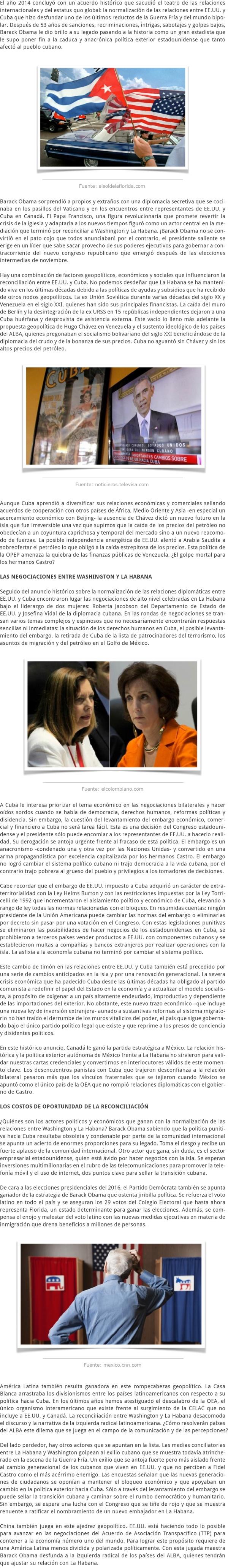 LA RECONCILIACIÓN ENTRE EE.UU. Y CUBA