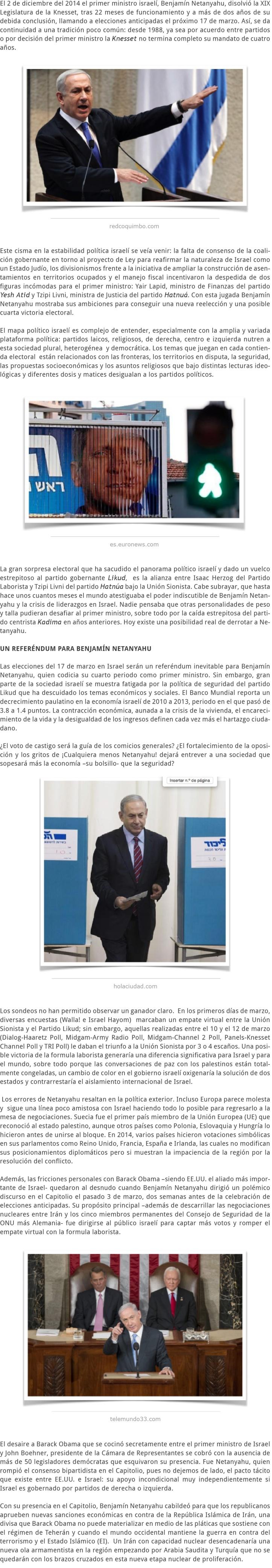 ¿CUALQUIERA MENOS NETANYAHU ELECCIONES ANTICIPADAS EN ISRAEL