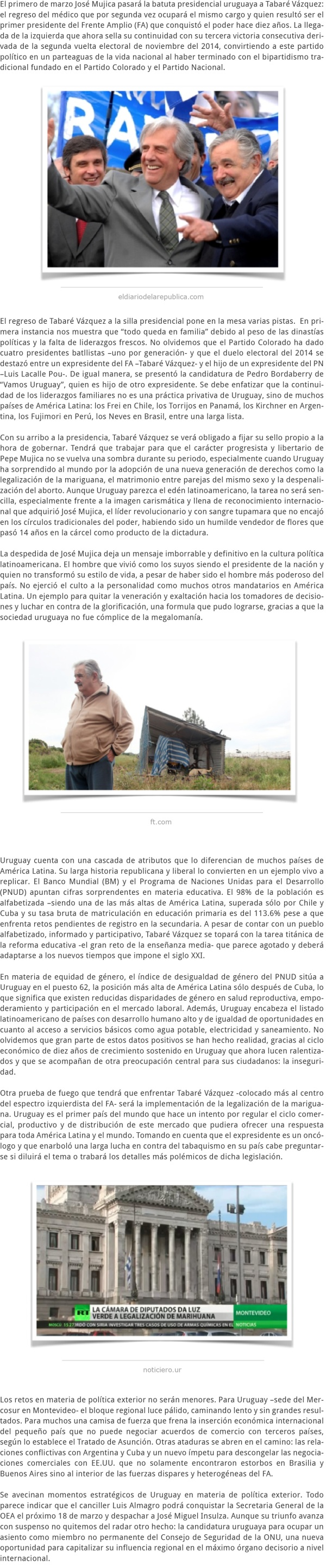 EL TRASPASO DEL EDÉN URUGUAYO DE MUJICA A VÁZQUEZ