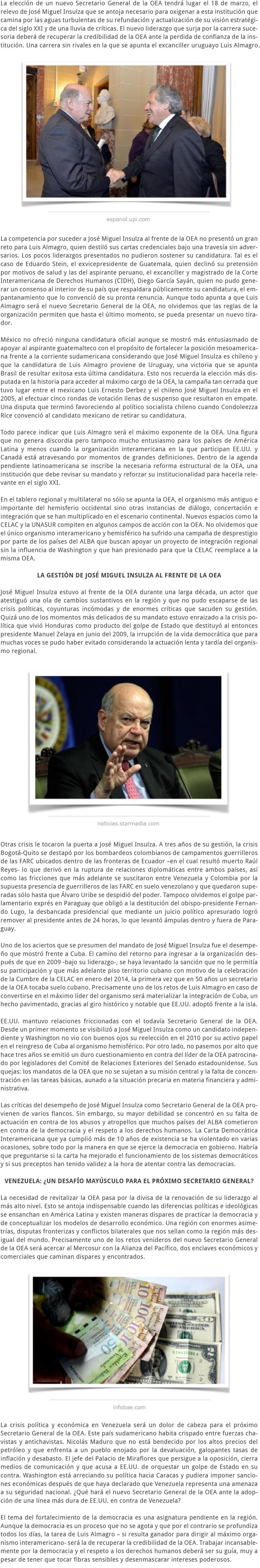 LA SUCESIÓN DE JOSÉ MIGUEL INSULZA AL FRENTE DE LA OEA