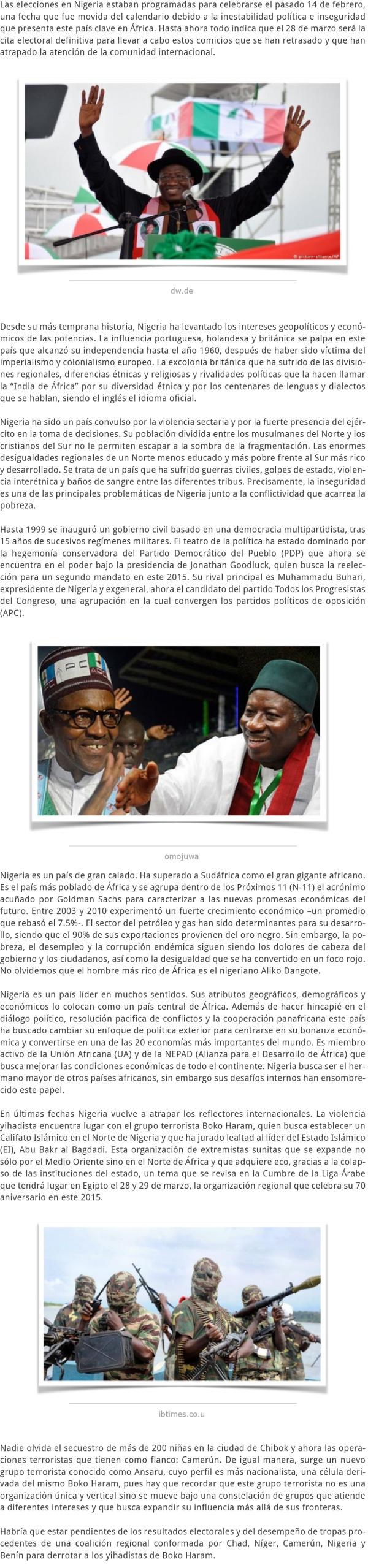 LOS COMICIOS EN NIGERIA ¿LA REELECCIÓN DE JONATHAN GOODLUCK