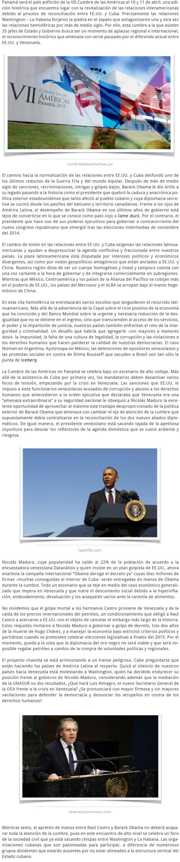 EL ALTO VOLTAJE DE LA CUMBRE DE LAS AMÉRICAS