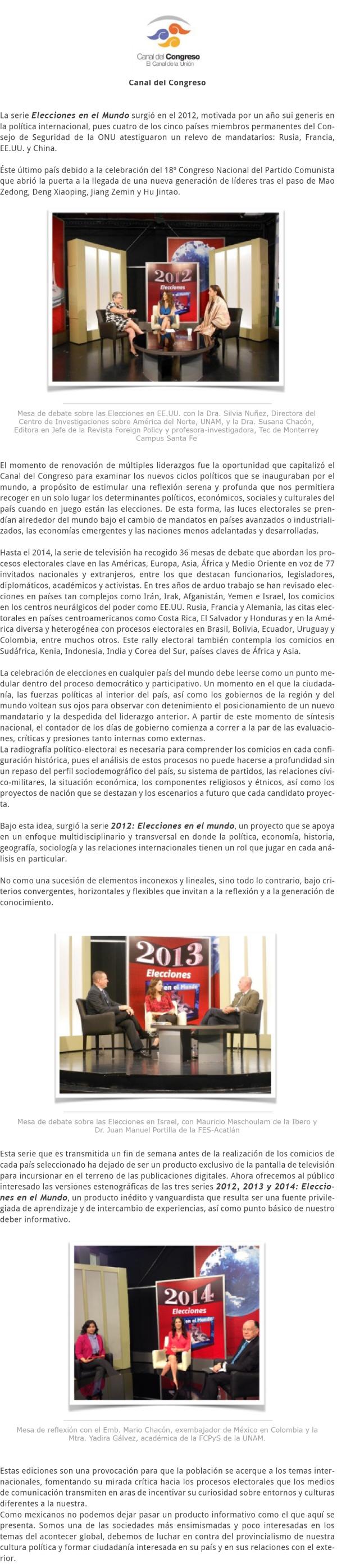 2012-2014 ELECCIONES EN EL MUNDO