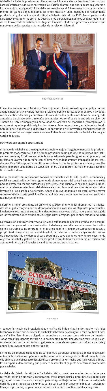 LA VISITA DE MICHELLE BACHELET A MÉXICO