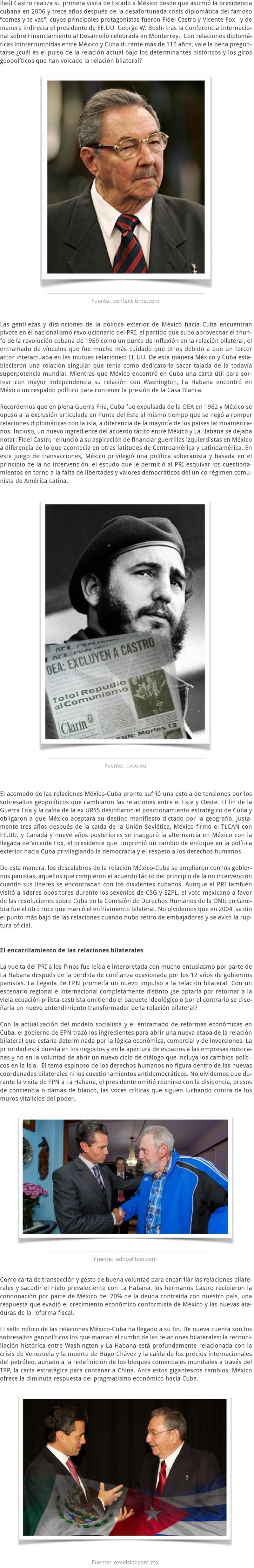 RAÚL CASTRO EN MÉXICO Y LOS ENTRETELONES DE LA RELACIÓN BILATERAL