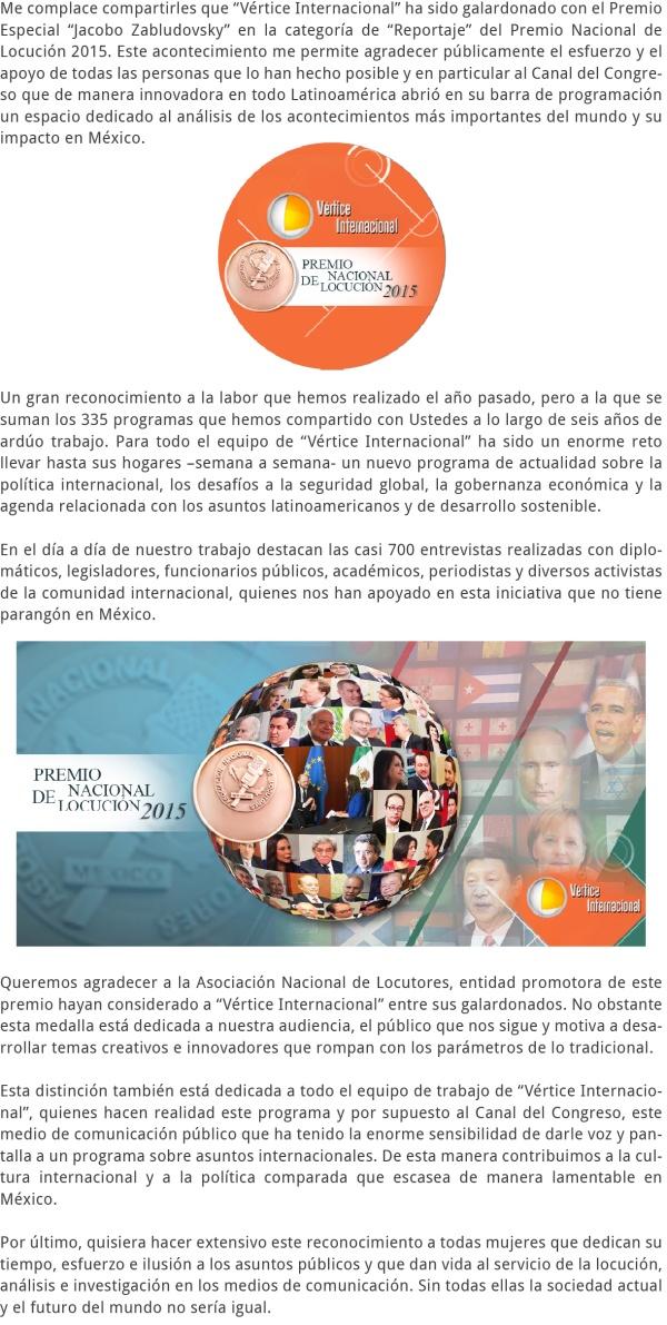 Vértice Internacional – Premio Nacional de Locución 2015