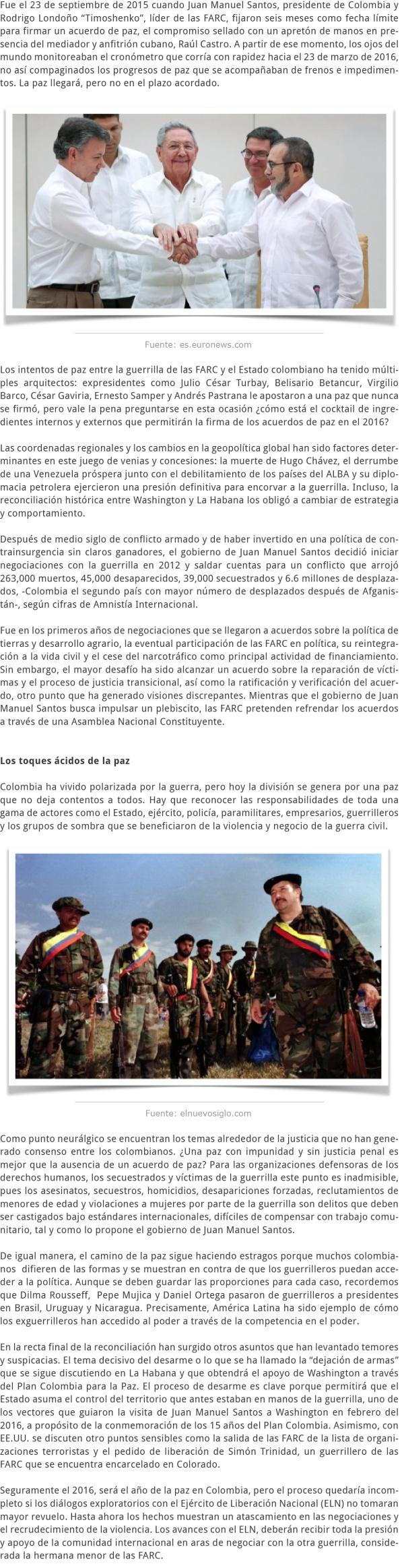 COLOMBIA LOS NUDOS DE LA PAZ