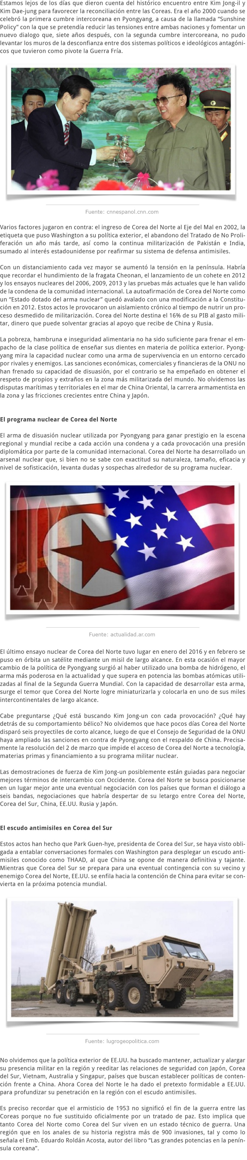 COREA DEL NORTE ENTRE AMENAZAS E INCERTIDUMBRES