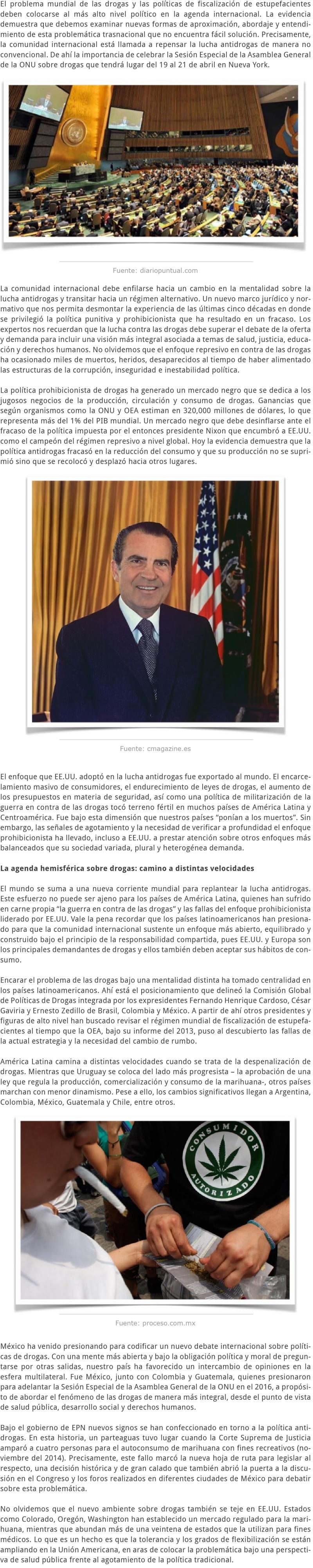 LA SESIÓN ESPECIAL DE LA ASAMBLEA GENERAL DE LA ONU SOBRE DROGAS