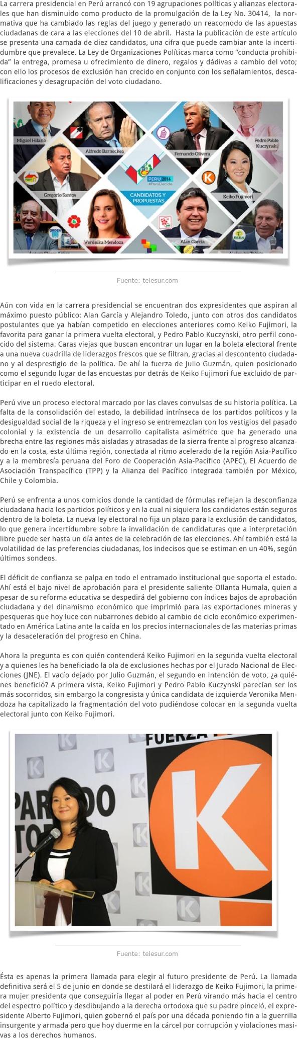 PERÚ LA PRIMERA RONDA DE LA CARRERA ELECTORAL [Recuperado]
