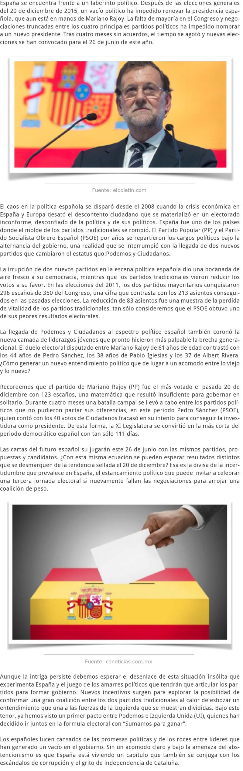 Elecciones en España y los nudos políticos