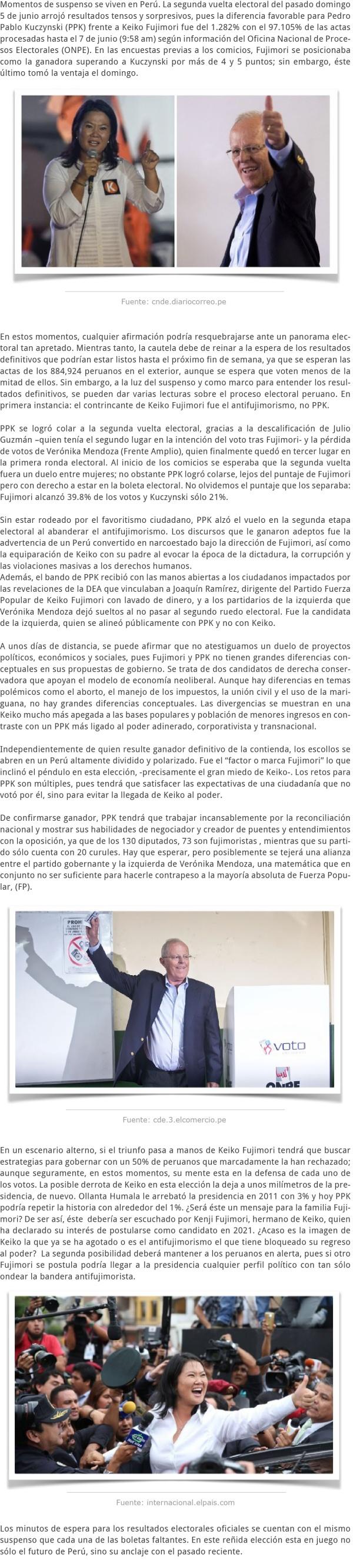 EL SUSPENSO DE LOS RESULTADOS ELECTORALES EN PERÚ