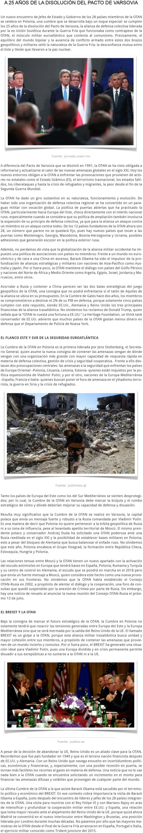 LA CUMBRE DE LA OTAM EN POLONIA A 25 AÑOS DE LA DISCUSIÓN DEL PACTO DE VERSOVIA