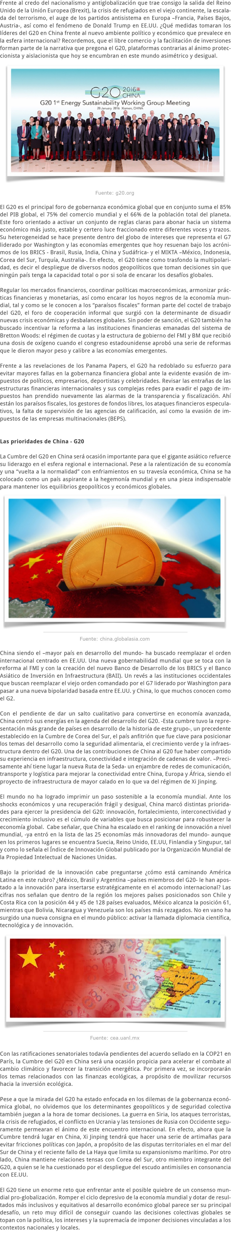 LA CUMBRE DEL G20 EN CHINA Y LOS NUDOS DE LA GOBERNANZA ECONÓMICA GLOBAL